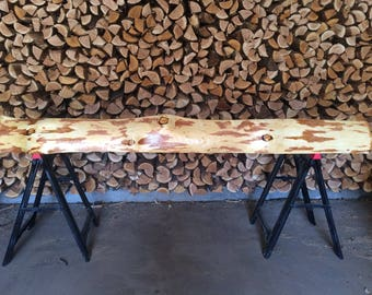 Hand-peeled live edge Ponderosa pine log Mantel - Sanded & Finished with Danish Oil