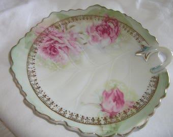 Vintage Lefton China Leaf Shaped Dish Pink Cottage Roses and Gold Trim
