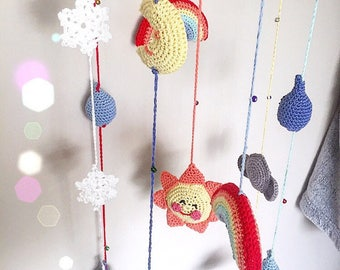 Hand crocheted weather baby mobile, hanging ceiling decoration