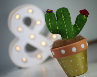 Cactus felt with hand painted pot