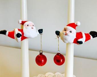 REDUCED- Vintage Lefton Christmas Santa Claus Ornament Hanging Candlehuggers Figurine Japan 1950's