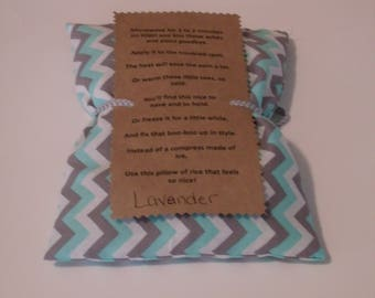 Gray and Blue Chevron Heat pack, rice bag, cold pack. therapy bag, Lavender heat pack, Rice therapy bag, hot and cold therapy pack, hot pad
