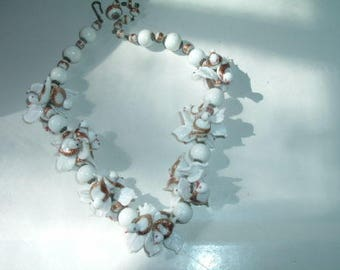 Gorgeous And Sweet Antique Hand blown Gilded Glass Dove Choker Necklace