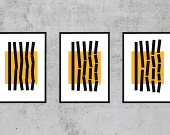 ORIGINAL POSTERS, Set of 3, digital art, geometry, orange, black, A4, home decoration, wall decoration, instant download