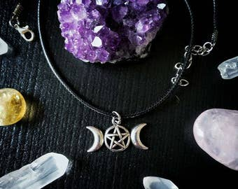 Triple Moon necklace / Triple Goddess necklace / adjustable cord necklace