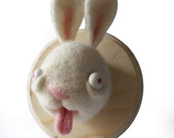 rabbit fake taxidermy, needlefelting