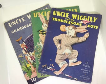 Vintage Uncle Wiggily Paper Books, 1943.  Uncle Wiggily And The Troublesome Boys, Grandaddy Longlegs, Uncle Wiggily And The Paper Boat