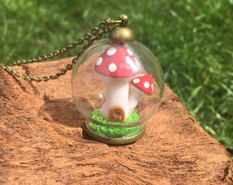 Fairy Toadstool House Necklace