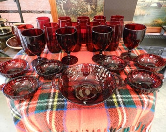 Anchor Hocking Royal Ruby Glass 10 Tumblers/6 Dessert Cups/4 Goblets/1 Bowl