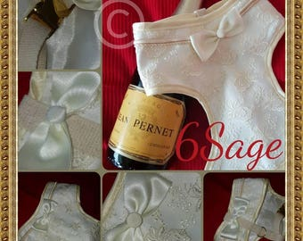 Handmade dog harness in duchess satin with silk lace overlay, wedding occasion harness quality bespoke couture Pug, Shi Tzu, bridal