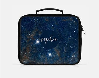 Blue Lunch Box, Galaxy Lunch Box, Space Lunch Box, Monogram Lunch Box, Lunch Box for Women, Adult Lunchbox, Stars Lunch Box, Lunchboxes