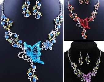 "Jeweler Set ""Abutterfly on flowers"""
