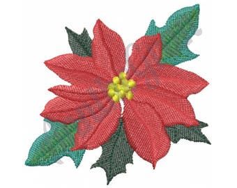 Christmas Poinsetta - Machine Embroidery Design