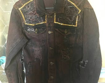 Distressed Studded Denim Jacket