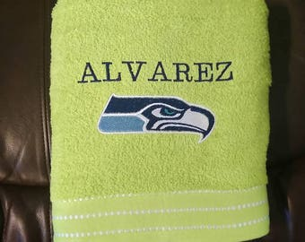 Embroidered and Personalized Seahawks Bath Towel