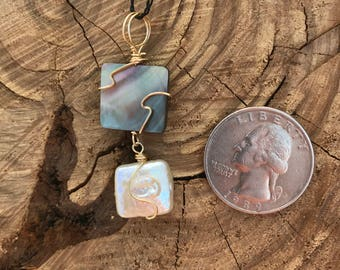 Mother of Pearl and Coin Pearl Wire Wrapped Necklace