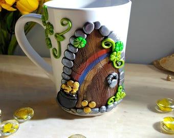 Pot of Gold Polymer Clay Mug Rainbow Door Leprechaun Coffee Mugs Tea Cups Unique Gifts