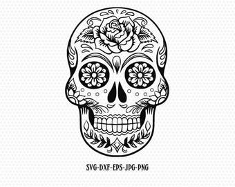Sugar Skull SVG ,Candy Skull svg DXF, Sugar Skulls Clipart,for CriCut Silhouette cameo Files svg jpg png dxf