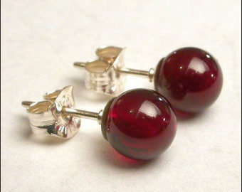 Garnet 6mm Round Studs Earrings - Sterling Silver