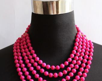 Layered Statement Gorgeous Beaded Fuchsia Necklace