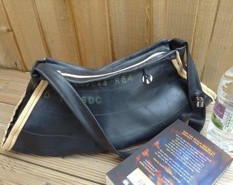 Handbag, waterproof bag, shoulder bag, day bag, Ladies bag, tyre bag made from recycled rubber inner tubes