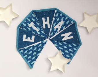 Space Rocket and Star-themed personalised blue bunting baby gift nursery decor birthday gift