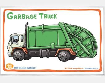 Good Glue Garbage Truck Placemat, Kids Trucks Placemats, Trucks,Kids, Good Glue