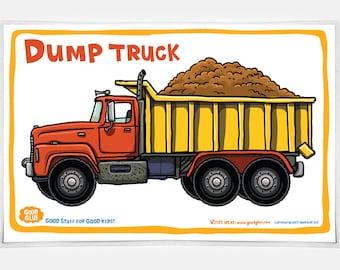 Good Glue Dump Truck Placemat, Kids Trucks Placemats, Trucks,Kids, Good Glue