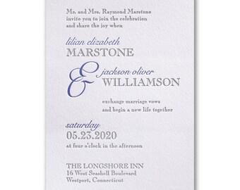 Contemporary Style Letterpress Wedding Invitation - SAMPLE SET