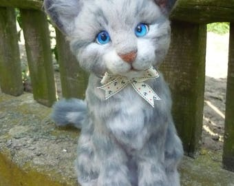 OOAK needle felted soft sculpture of a cat