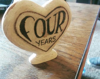 Wooden Heart Carving, Custom Writing, Romantic Wooden Carving, Custom Wood Carving, Anniversary Gift