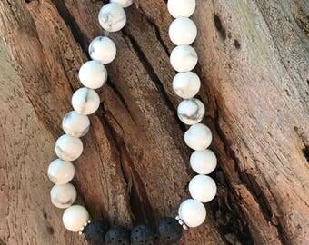Howlite Aromatherapy Bracelet with Lava Beads