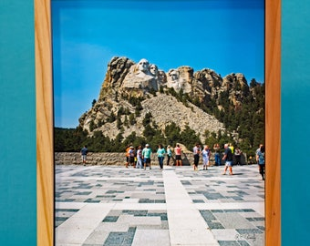 Mt. Rushmore 3D Hi Res Photo Crafted for effect of realism, redwood frame, ready to hang, signed.