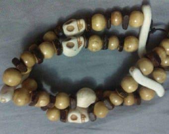 Skull and Wooden Beaded Bracelet