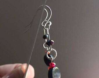 Sterling silver black & red bead earrings