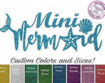 DIY MINI MERMAID Iron On Applique, Heat Transfer Vinyl, Shirt, Mermaid Birthday, Glitter Patch, Decal, Infant, Baby, Toddler, Child, Girl