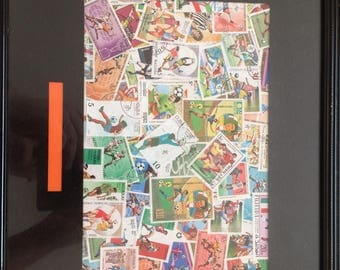 Football stamp collage picture