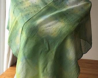 Silk Scarf Weld & Indigo Naturally Hand Dyed Itajime Shibori Chiffon Scarf