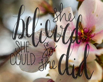 She Believed She Could So She Did Motivational Cherry Blossom Print