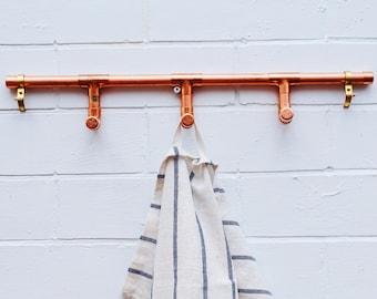 Copper coat hook, copper hook, teatowel holder, copper kitchen hooks, kitchen hooks, bathroom hooks