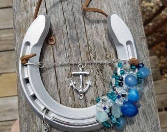 Nautical bead wrapped aluminum horseshoe