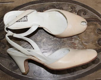 ADRIEN P.36 Vintage 80's beige suede leather sandals in excellent condition