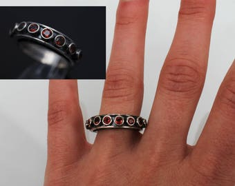 22K SILVER ring with NATURAL GARNET gemstones