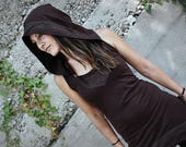 ELVEN HOOD ~ Elastic Pointed Dress, Mini Dress ~ Racerback ~ with Large Hood and Lace Decoration ~ brown S,M