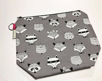 CLEARANCE - Large Project Bag - Forest Animals on Grey
