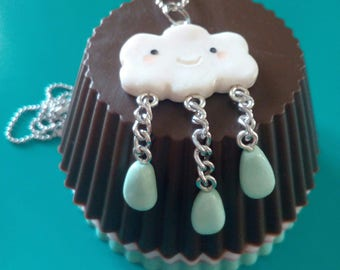 Necklace in fimo ' cloud + rain drops '-Cloud + raindrops necklace, polymer clay