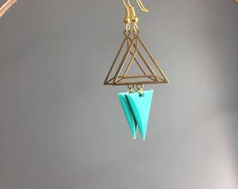 Earrings gold and enamel