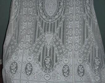 Beautiful Vintage White Lace Curtain Panel, Shabby Chic Curtains, Cottage Chic, Wedding,