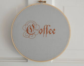 Coffee Hand-Embroidered Wall Hanging