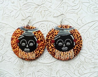 Hand painted African mask earrings